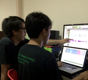 Producer Andie Jonathan Palempung and Sound Engineer Bayu Perkasa on their editing station.